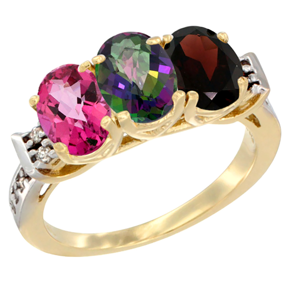 14K Yellow Gold Natural Pink Topaz, Mystic Topaz & Garnet Ring 3-Stone 7x5 mm Oval Diamond Accent, sizes 5 - 10