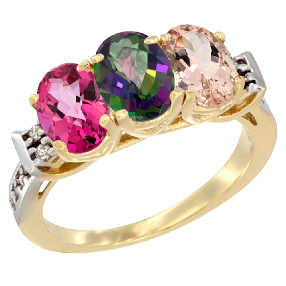 14K Yellow Gold Natural Pink Topaz, Mystic Topaz & Morganite Ring 3-Stone 7x5 mm Oval Diamond Accent, sizes 5 - 10