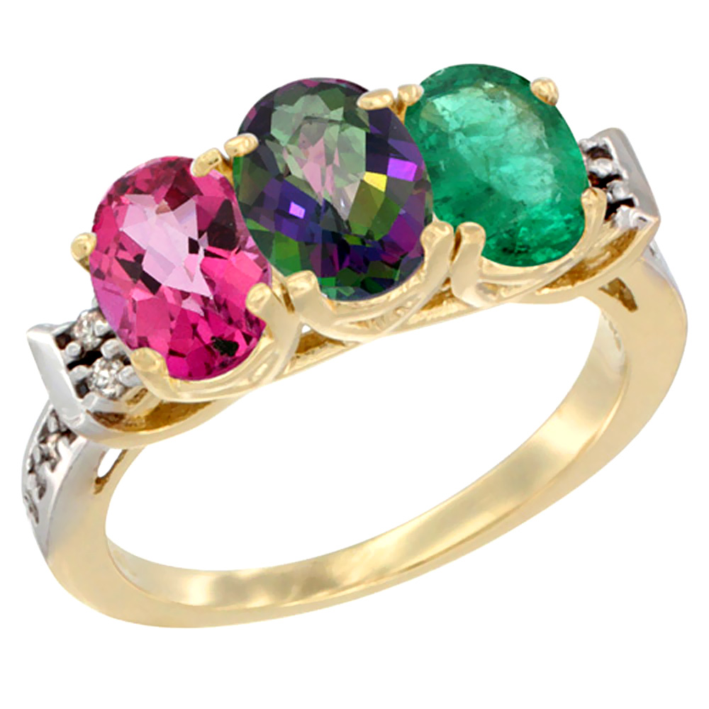 14K Yellow Gold Natural Pink Topaz, Mystic Topaz & Emerald Ring 3-Stone 7x5 mm Oval Diamond Accent, sizes 5 - 10