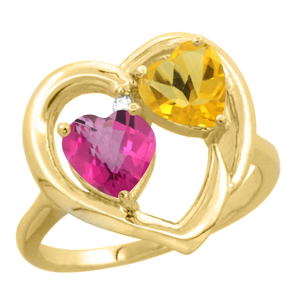 14K Yellow Gold Diamond Two-stone Heart Ring 6 mm Natural Pink Topaz & Citrine, sizes 5-10