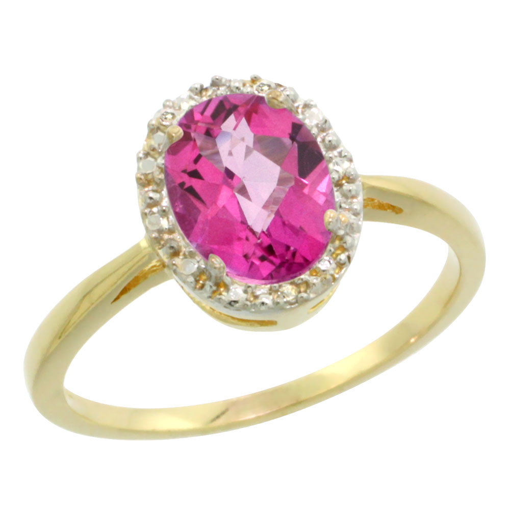 14K Yellow Gold Natural Pink Topaz Diamond Halo Ring Oval 8X6mm, sizes 5-10