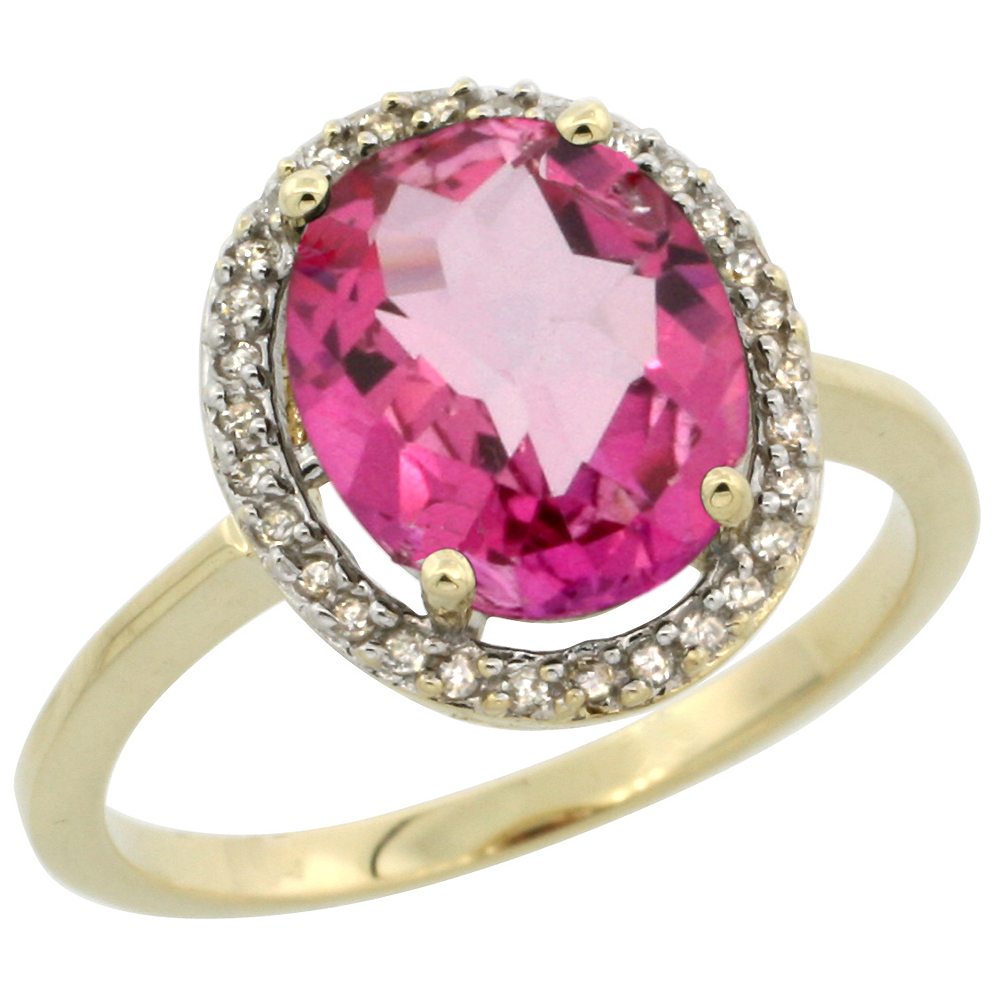 10K Yellow Gold Diamond Halo Natural Pink Topaz Engagement Ring Oval 10x8 mm, sizes 5-10