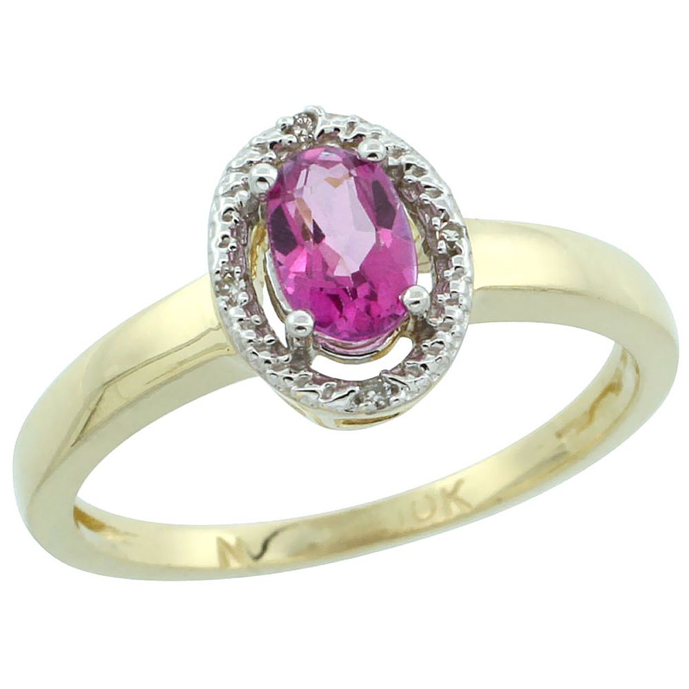 14K Yellow Gold Diamond Halo Natural Pink Topaz Engagement Ring Oval 6X4 mm, sizes 5-10