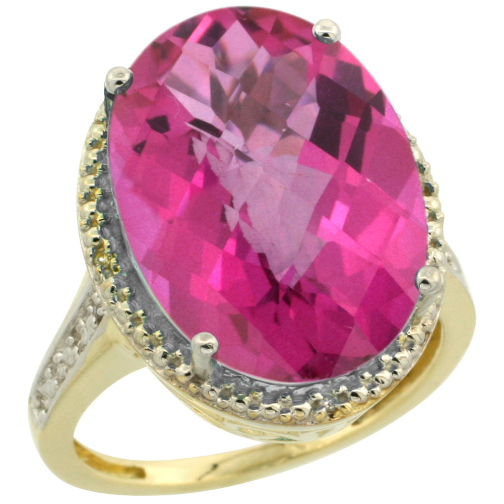 14K Yellow Gold Diamond Natural Pink Topaz Ring Oval 18x13mm, sizes 5-10
