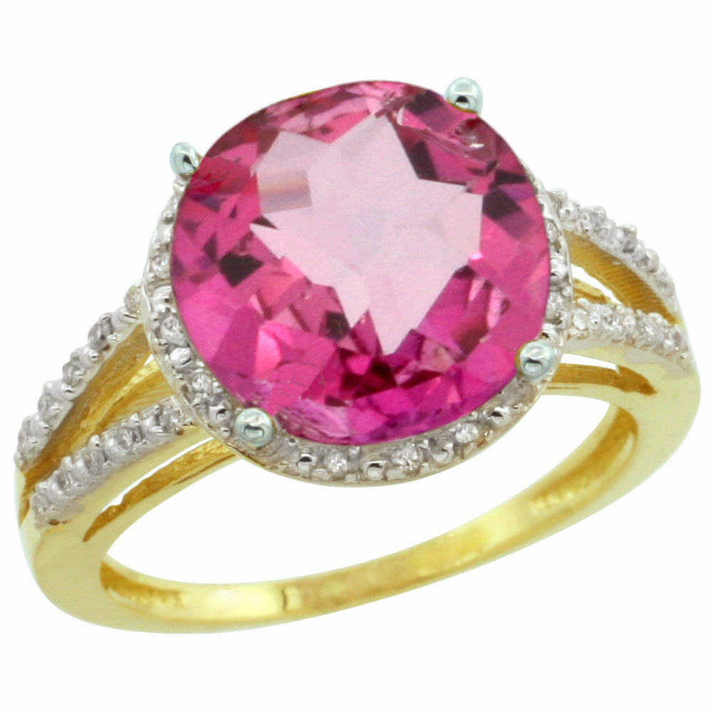 10K Yellow Gold Diamond Natural Pink Topaz Ring Round 11mm, sizes 5-10