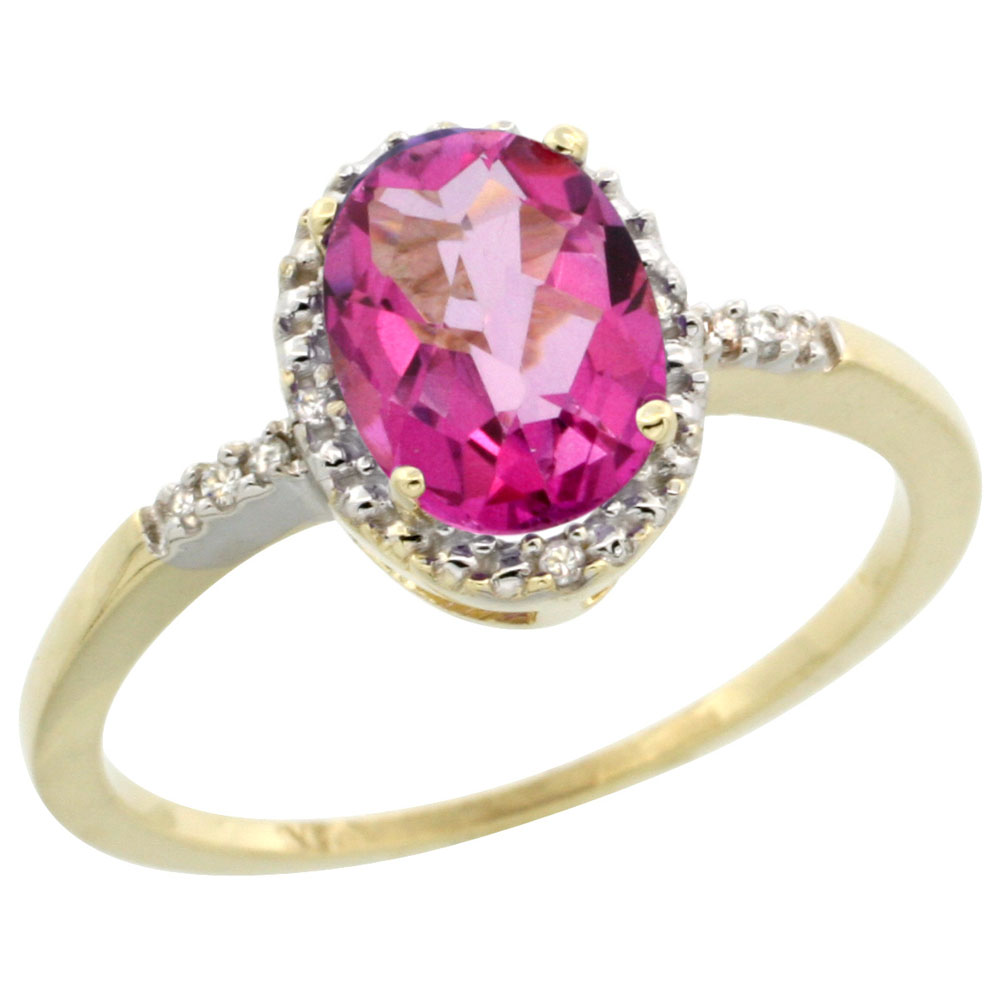 14K Yellow Gold Diamond Natural Pink Topaz Ring Oval 8x6mm, sizes 5-10