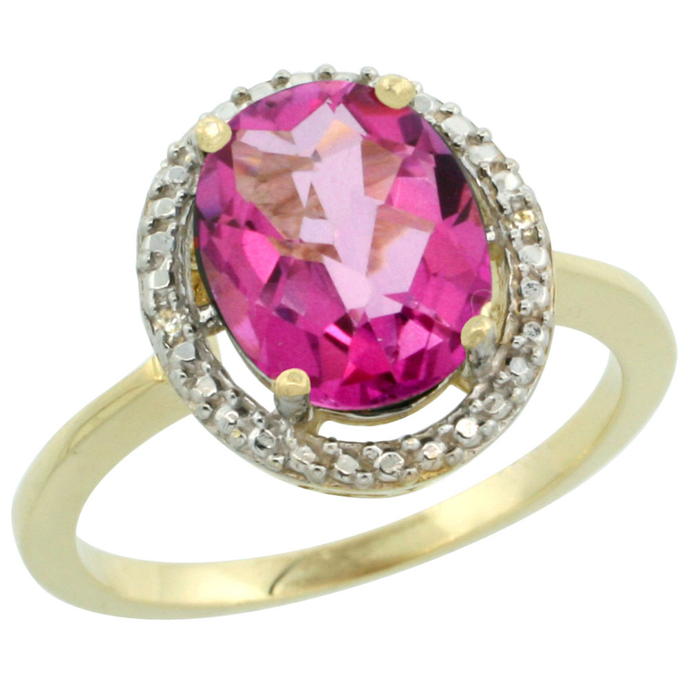 10K Yellow Gold Diamond Natural Pink Topaz Engagement Ring Oval 10x8mm, sizes 5-10