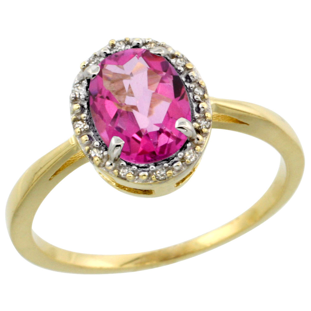14K Yellow Gold Natural Pink Topaz Ring Oval 8x6 mm Diamond Halo, sizes 5-10
