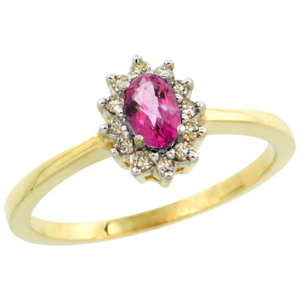 14K Yellow Gold Natural Pink Topaz Ring Oval 5x3mm Diamond Halo, sizes 5-10
