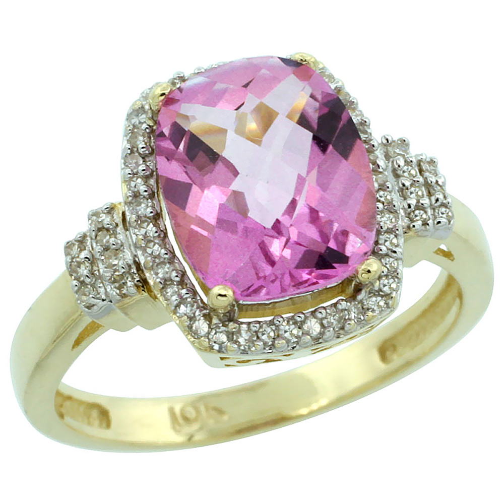 14K Yellow Gold Natural Pink Topaz Ring Cushion-cut 9x7mm Diamond Halo, sizes 5-10