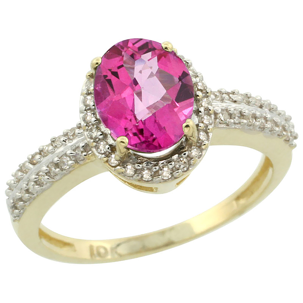 14K Yellow Gold Natural Pink Sapphire Ring Oval 8x6mm Diamond Halo, sizes 5-10