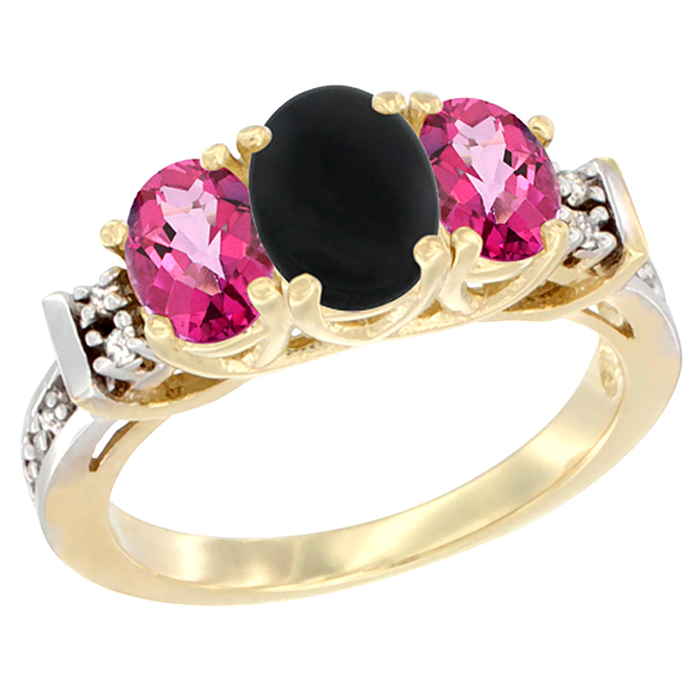 10K Yellow Gold Natural Black Onyx & Pink Topaz Ring 3-Stone Oval Diamond Accent