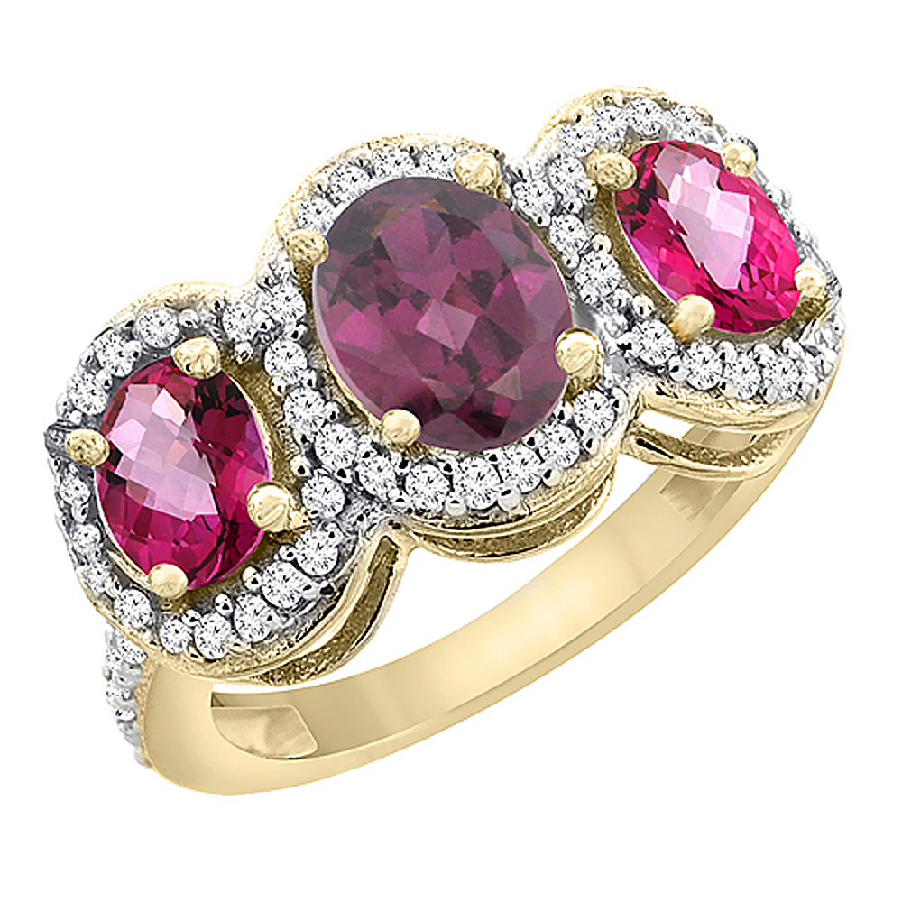 10K Yellow Gold Natural Rhodolite & Pink Topaz 3-Stone Ring Oval Diamond Accent, sizes 5 - 10