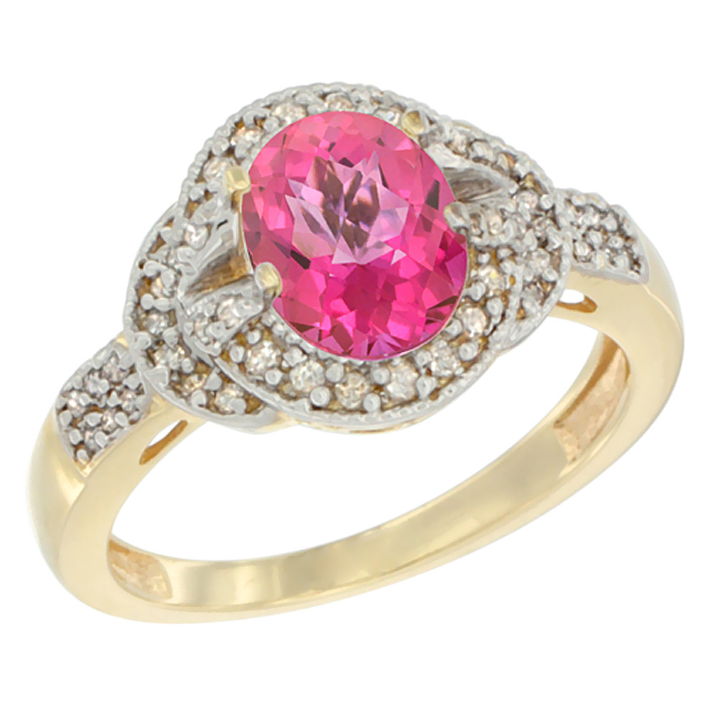 14K Yellow Gold Natural Pink Sapphire Ring Oval 8x6 mm Diamond Accent, sizes 5 - 10