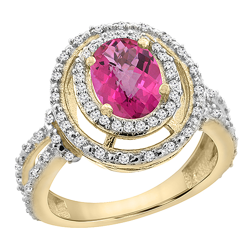 14K Yellow Gold Natural Pink Sapphire Ring Oval 8x6 mm Double Halo Diamond, sizes 5 - 10
