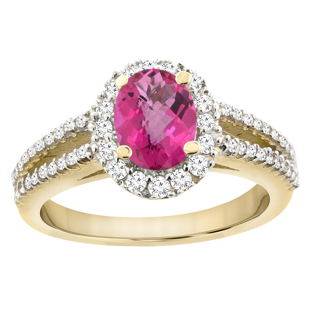 14K Yellow Gold Natural Pink Sapphire Split Shank Halo Engagement Ring Oval 7x5 mm, sizes 5 - 10