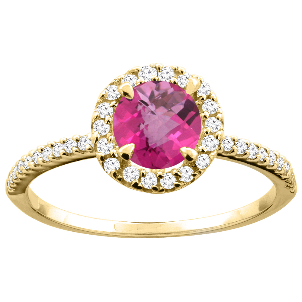 14K Gold Natural Pink Topaz Ring Round 6mm Diamond Accents, sizes 5 - 10
