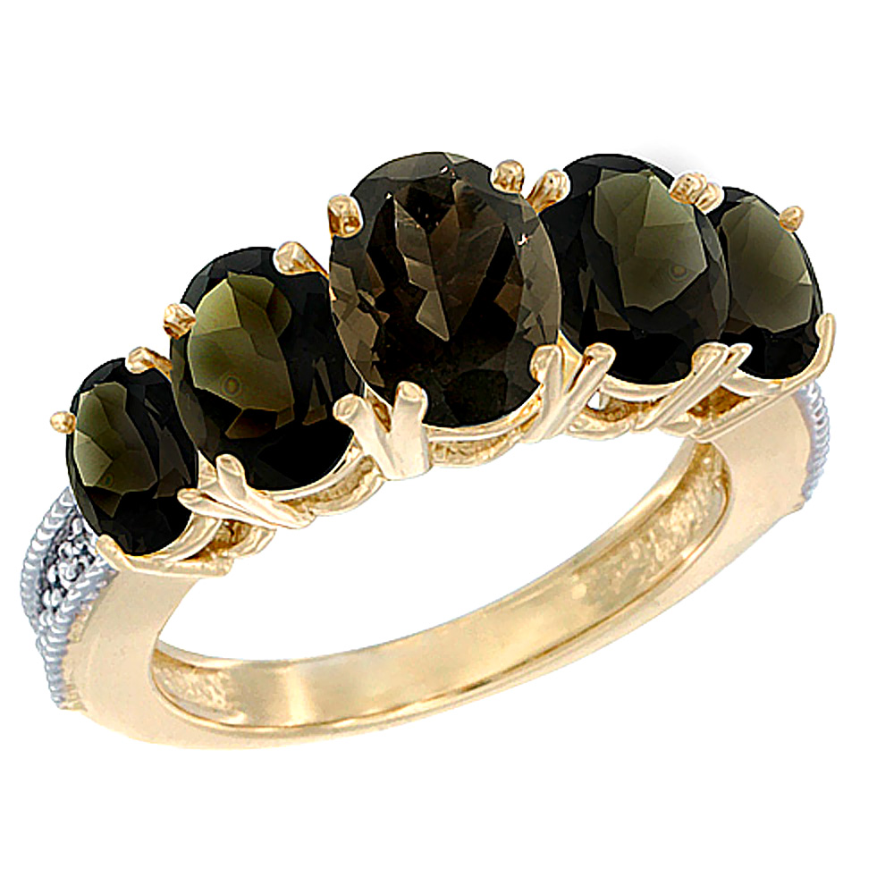 14K Yellow Gold Diamond Natural Smoky Topaz Ring 5-stone Oval 8x6 Ctr,7x5,6x4 sides, sizes 5 - 10