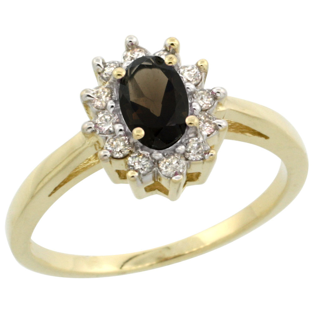 10K Yellow Gold Natural Smoky Topaz Flower Diamond Halo Ring Oval 6x4 mm, sizes 5 10