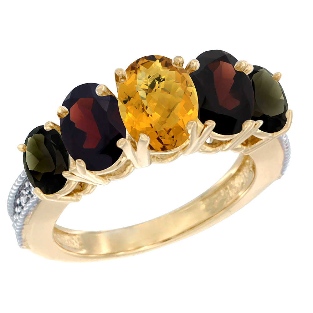 10K Yellow Gold Diamond Natural Whisky Quartz,Garnet,Smoky Topaz Ring 5-stone Oval 8x6 Center,7x5,6x4,sz5-10