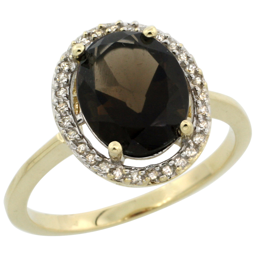 10K Yellow Gold Diamond Halo Natural Smoky Topaz Engagement Ring Oval 10x8 mm, sizes 5-10