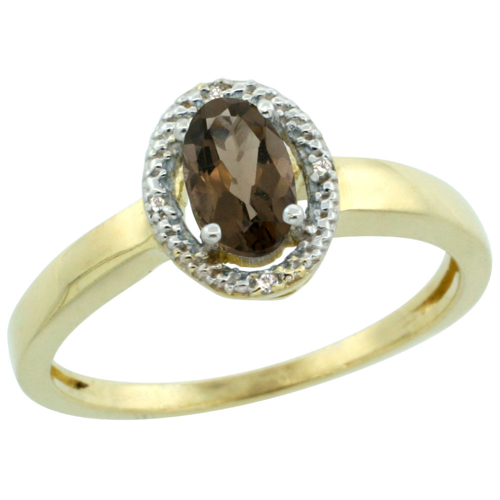 14K Yellow Gold Diamond Halo Natural Smoky Topaz Engagement Ring Oval 6X4 mm, sizes 5-10