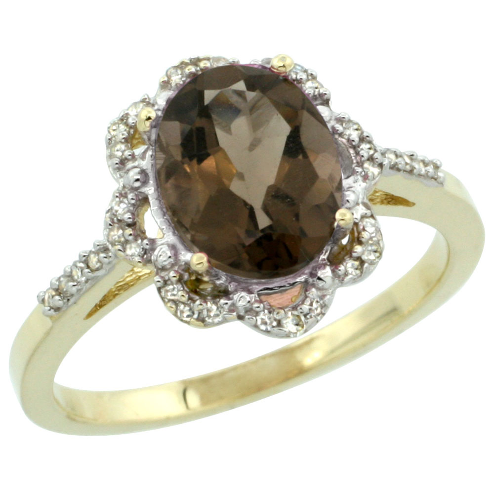 10K Yellow Gold Diamond Halo Natural Smoky Topaz Engagement Ring Oval 9x7mm, sizes 5-10
