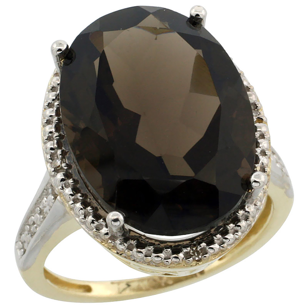 10K Yellow Gold Diamond Natural Smoky Topaz Ring Oval 18x13mm, sizes 5-10