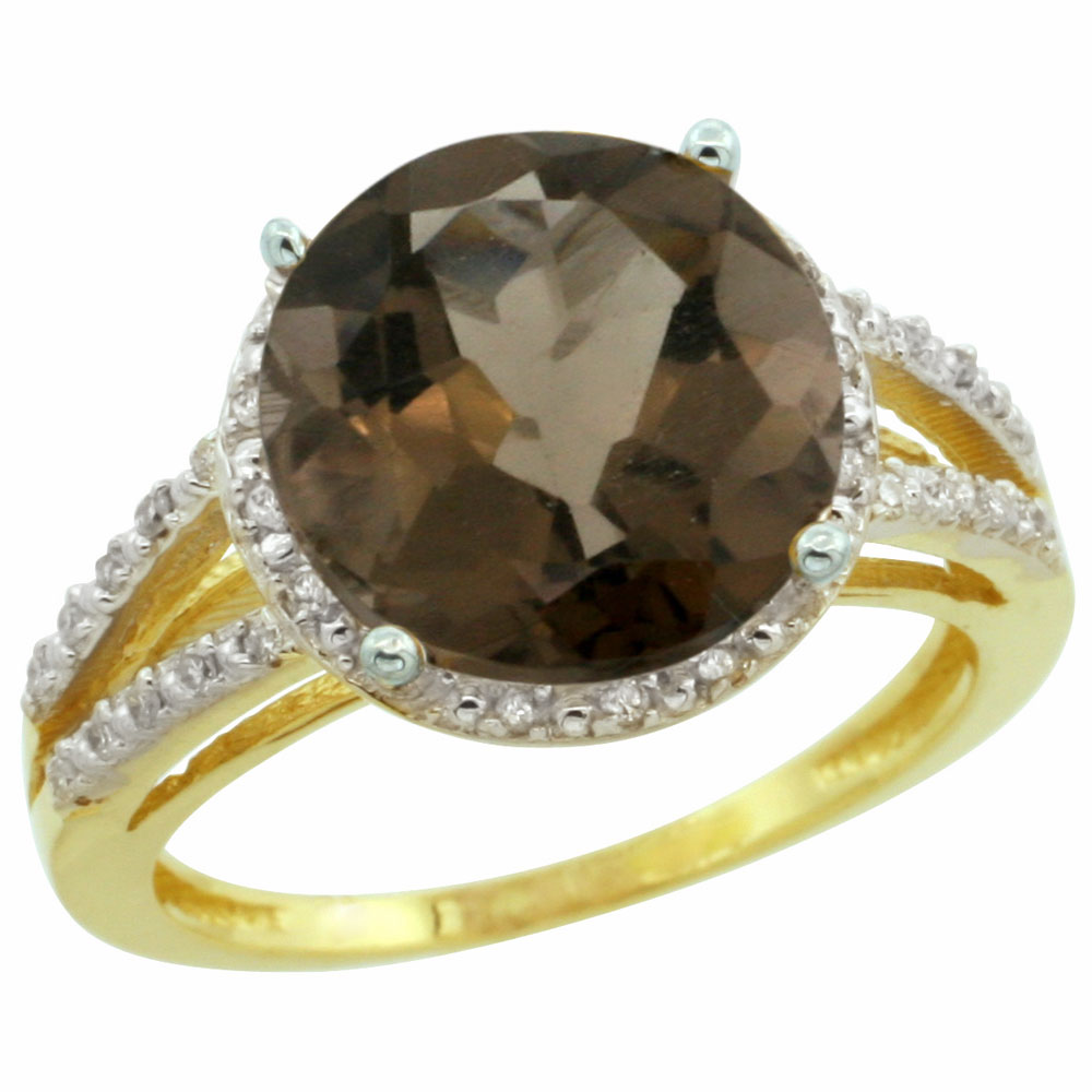 10K Yellow Gold Diamond Natural Smoky Topaz Ring Round 11mm, sizes 5-10