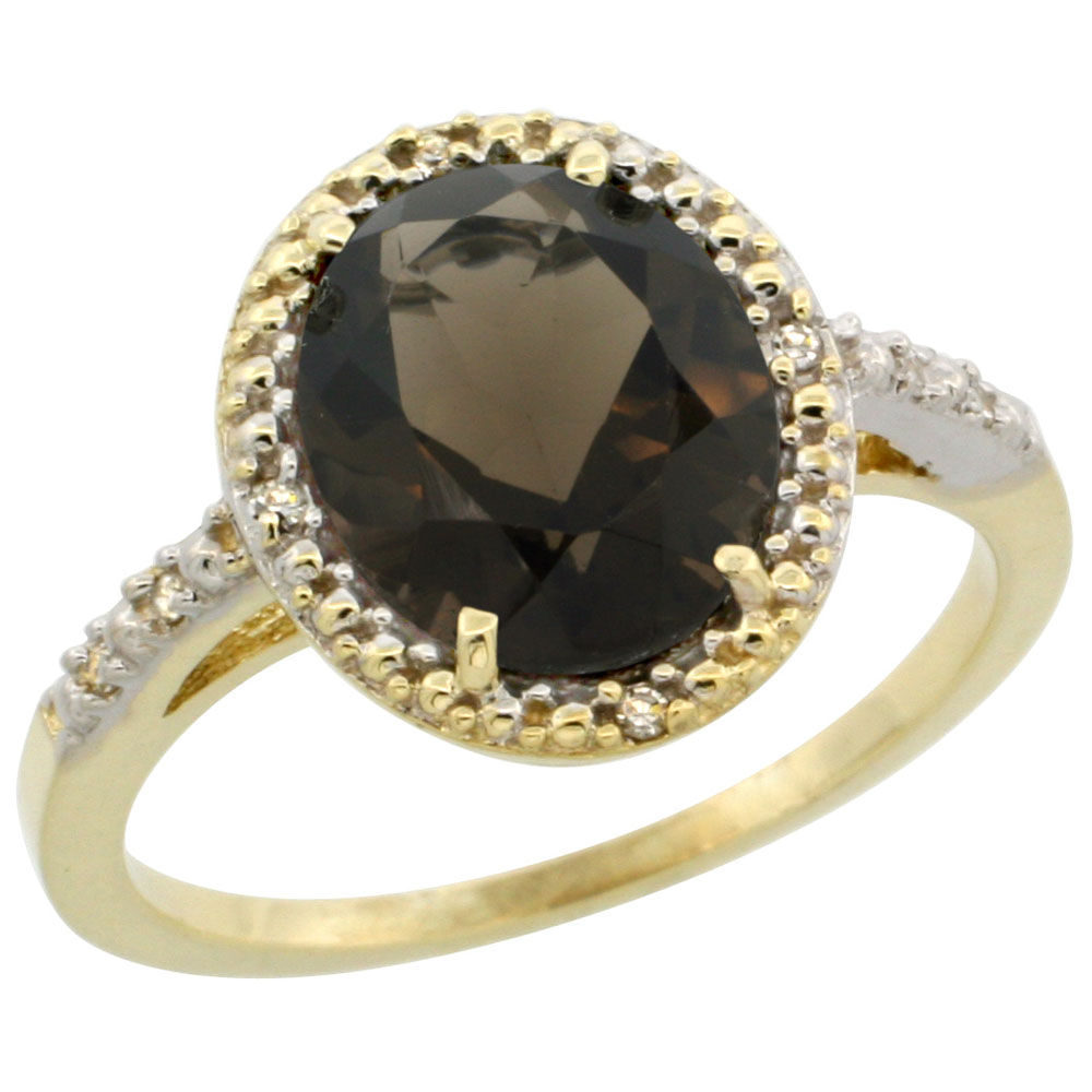 10K Yellow Gold Diamond Natural Smoky Topaz Engagement Ring Oval 10x8mm, sizes 5-10