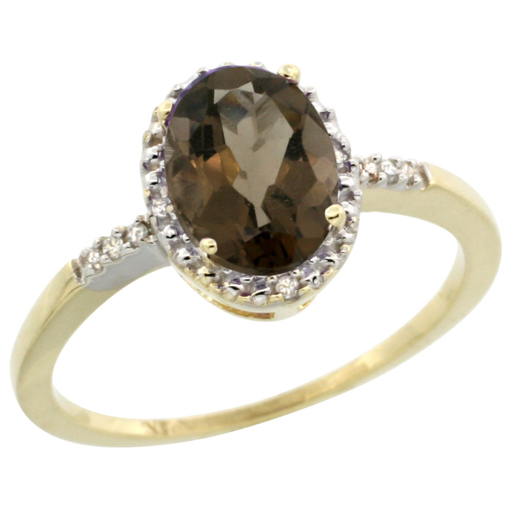 10K Yellow Gold Diamond Natural Smoky Topaz Ring Oval 8x6mm, sizes 5-10