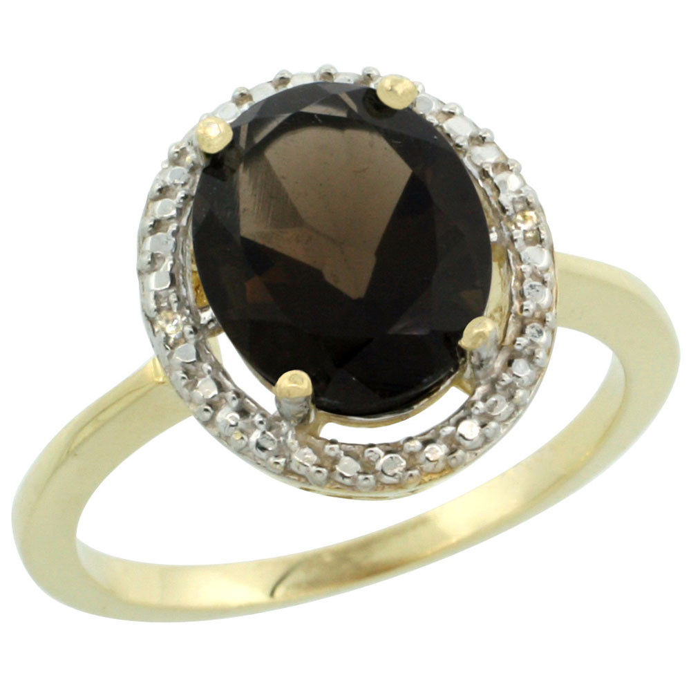 14K Yellow Gold Diamond Natural Smoky Topaz Engagement Ring Oval 10x8mm, sizes 5-10