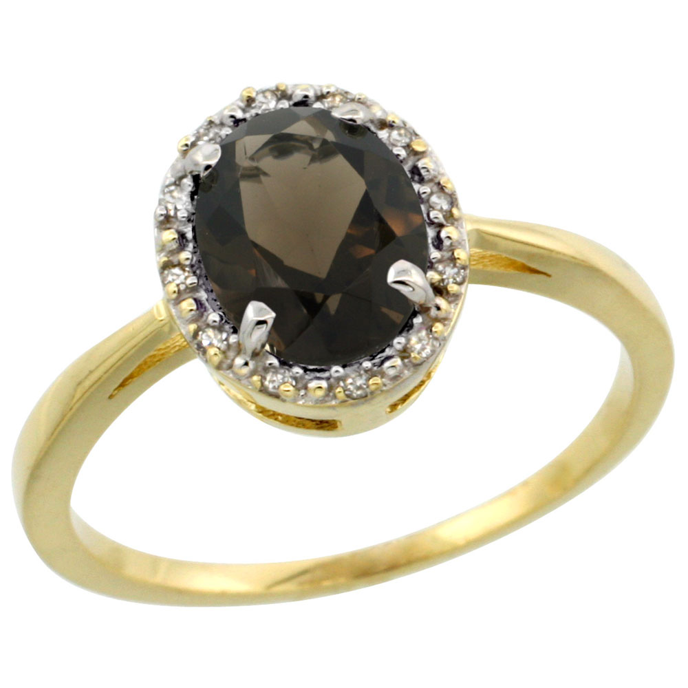 10k Yellow Gold Natural Smoky Topaz Ring Oval 8x6 mm Diamond Halo, sizes 5-10