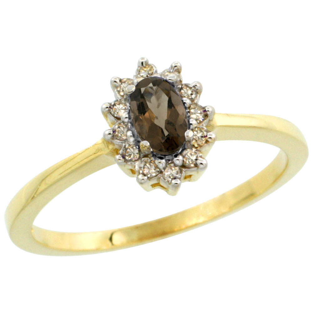 10k Yellow Gold Natural Smoky Topaz Ring Oval 5x3mm Diamond Halo, sizes 5-10