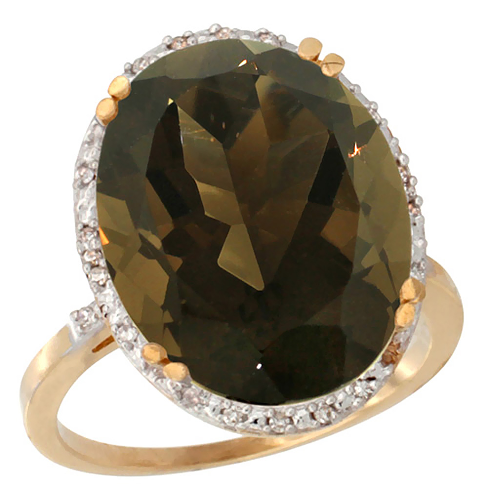 10k Yellow Gold Natural Smoky Topaz Ring Large Oval 18x13mm Diamond Halo, sizes 5-10