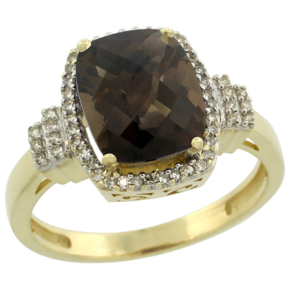 10k Yellow Gold Natural Smoky Topaz Ring Cushion-cut 9x7mm Diamond Halo, sizes 5-10