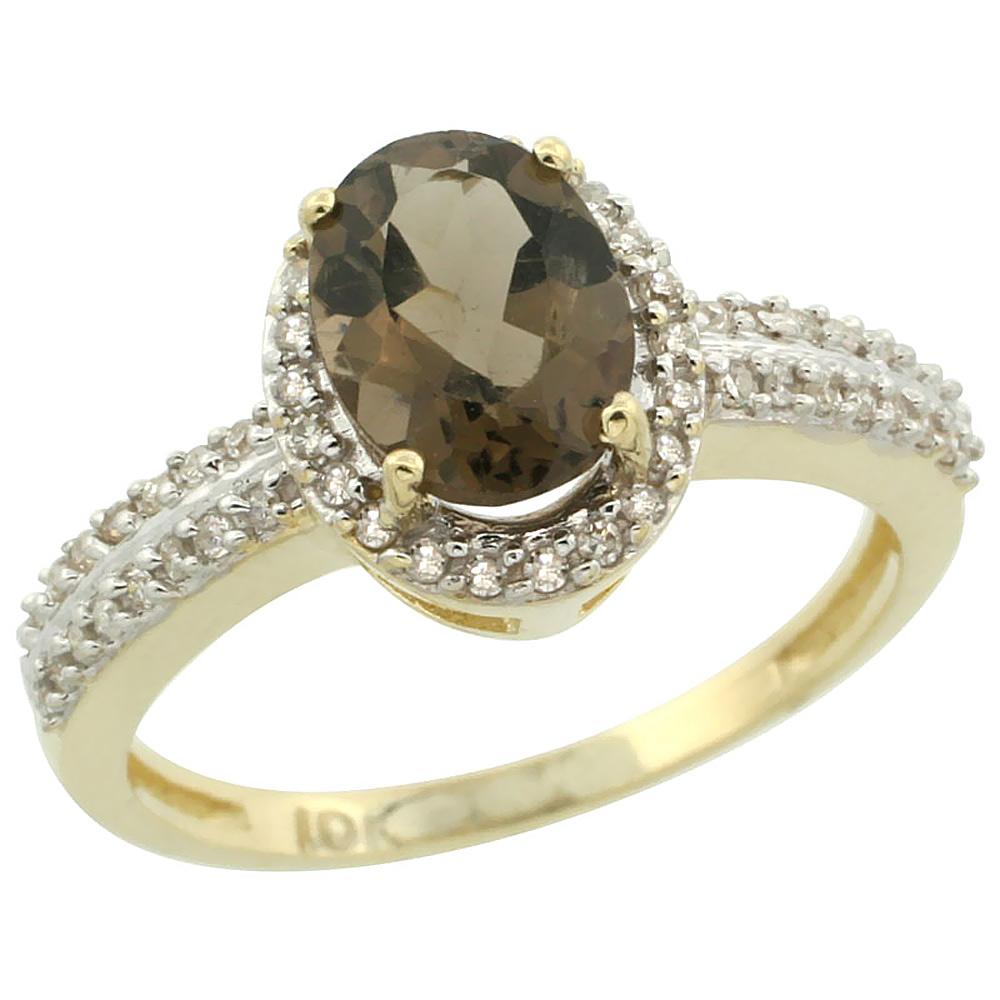 14K Yellow Gold Natural Smoky Topaz Ring Oval 8x6mm Diamond Halo, sizes 5-10