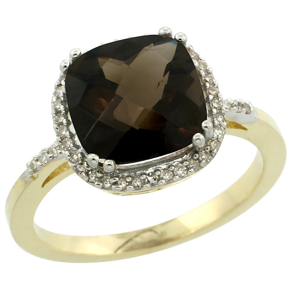 14K Yellow Gold Diamond Natural Smoky Topaz Ring Cushion-cut 9x9mm, sizes 5-10