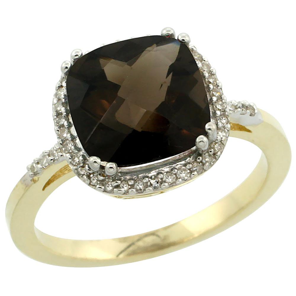 14K Yellow Gold Diamond Natural Smoky Topaz Ring Cushion-cut 9x9mm, sizes 5-10