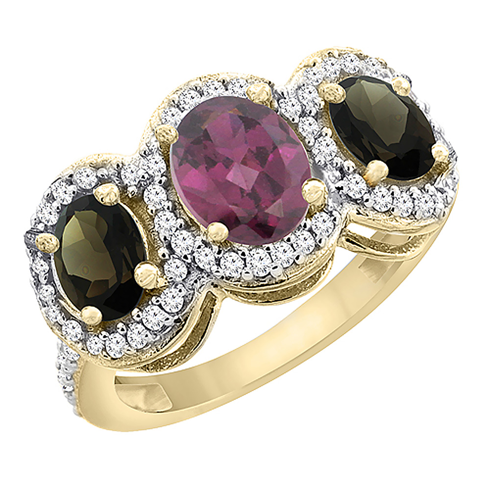 10K Yellow Gold Natural Rhodolite & Smoky Topaz 3-Stone Ring Oval Diamond Accent, sizes 5 - 10