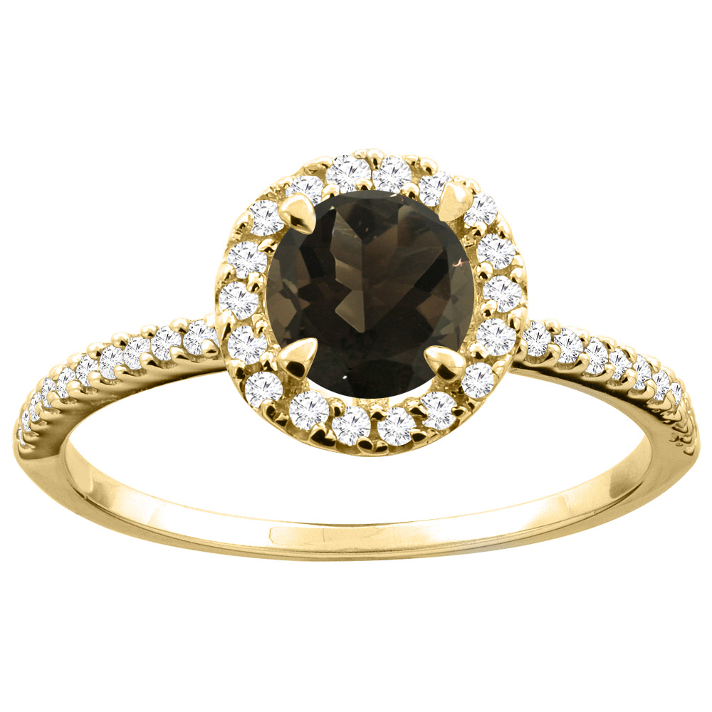 14K Gold Natural Smoky Topaz Ring Round 6mm Diamond Accents, sizes 5 - 10