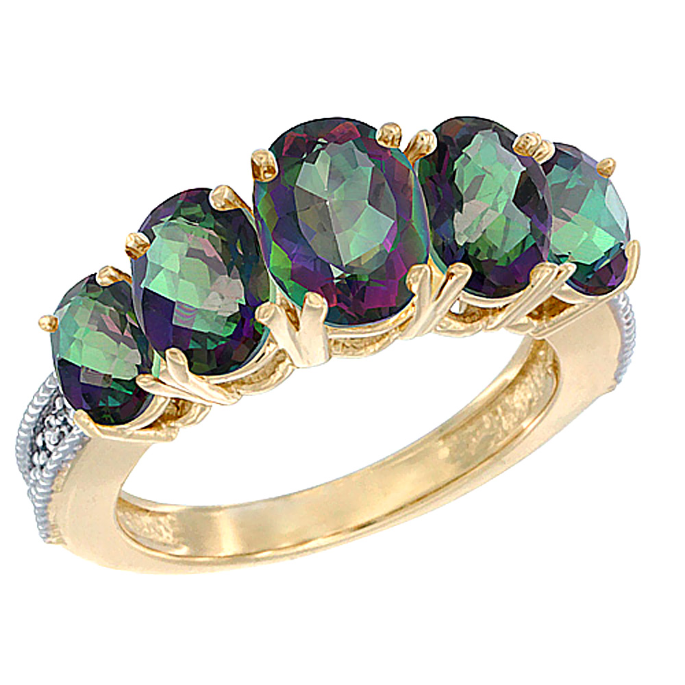 10K Yellow Gold Diamond Natural Mystic Topaz Ring 5-stone Oval 8x6 Ctr,7x5,6x4 sides, sizes 5 - 10