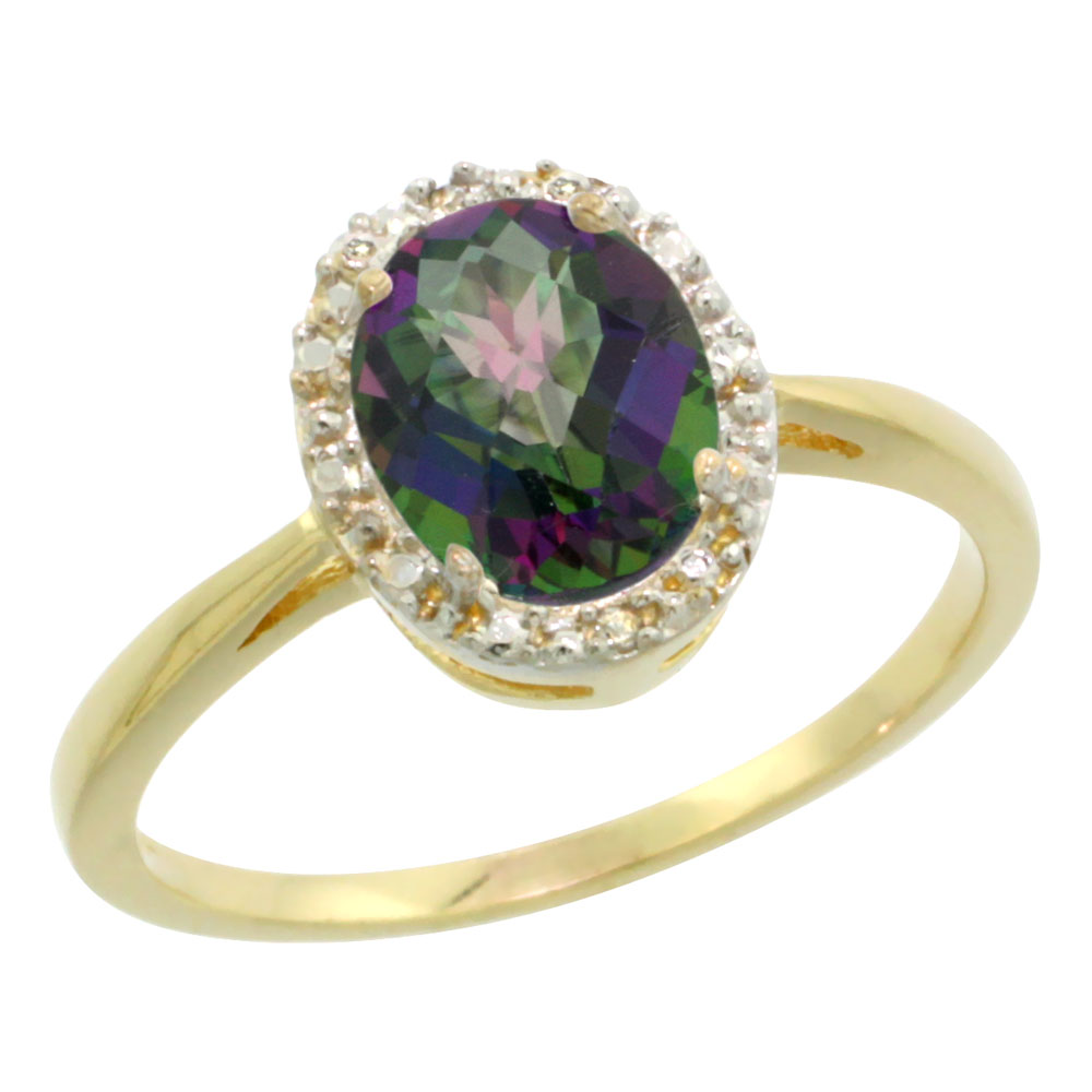 14K Yellow Gold Natural Mystic Topaz Diamond Halo Ring Oval 8X6mm, sizes 5 10
