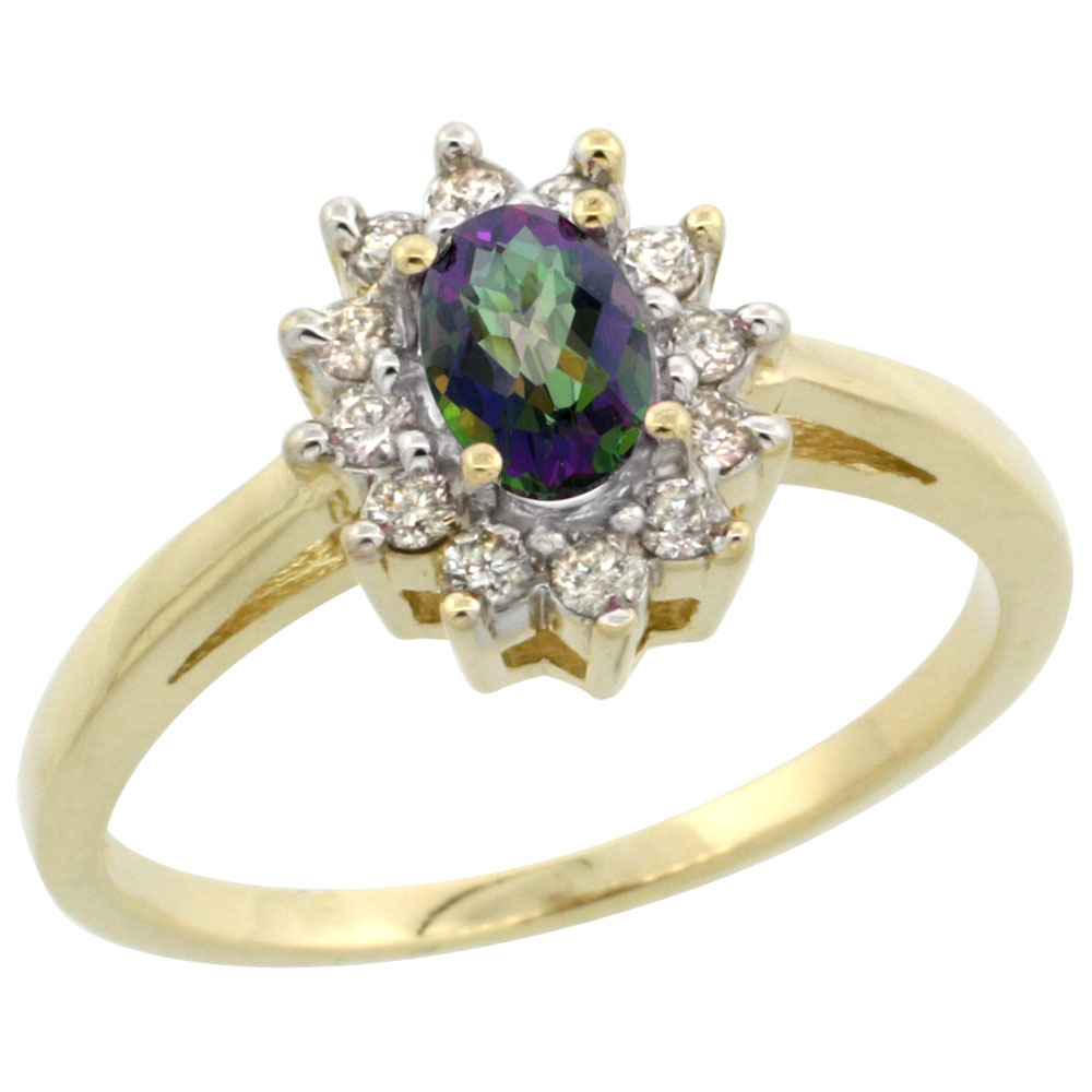 14K Yellow Gold Natural Mystic Topaz Flower Diamond Halo Ring Oval 6x4 mm, sizes 5-10