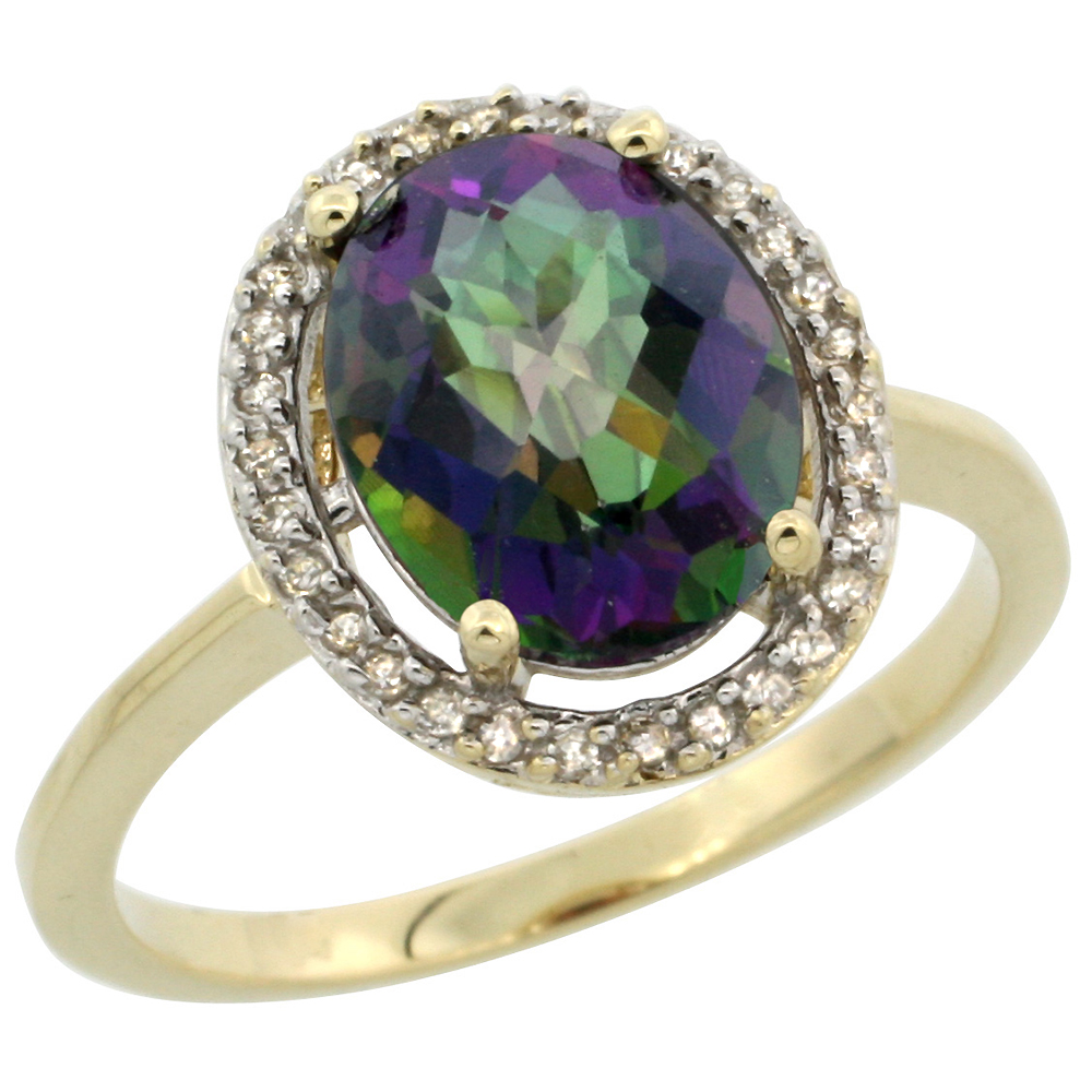 10K Yellow Gold Natural Diamond Halo Mystic Topaz Engagement Ring Oval 10x8 mm, sizes 5-10