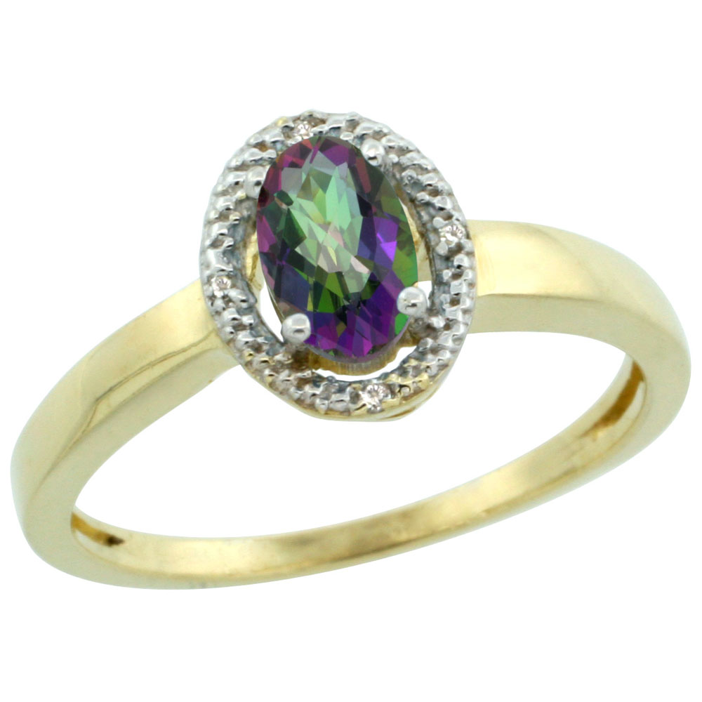 14K Yellow Gold Natural Diamond Halo Mystic Topaz Engagement Ring Oval 6X4 mm, sizes 5-10
