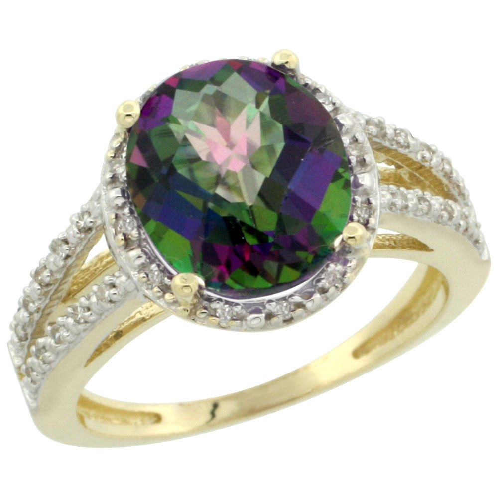 14K Yellow Gold Natural Mystic Topaz Diamond Halo Ring Oval 11x9mm, sizes 5-10
