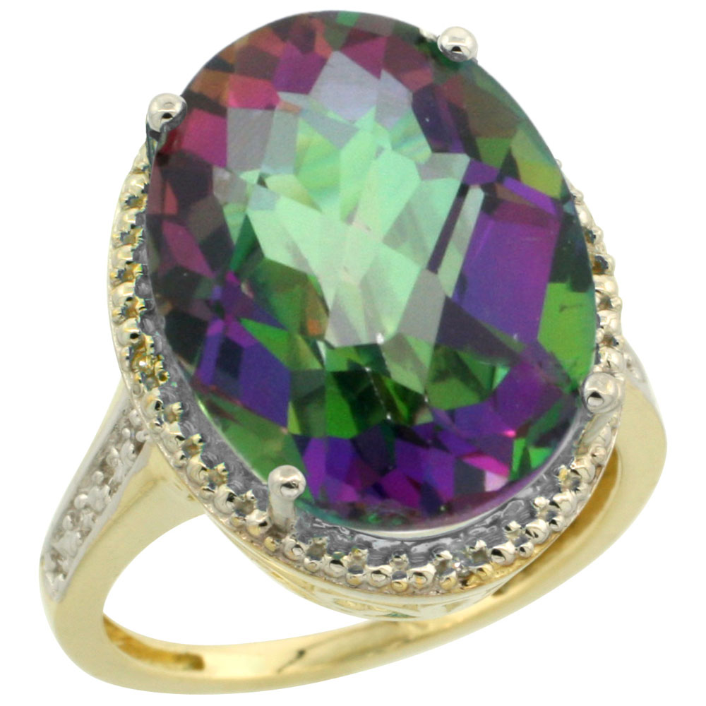 10K Yellow Gold Natural Diamond Mystic Topaz Ring Oval 18x13mm, sizes 5-10