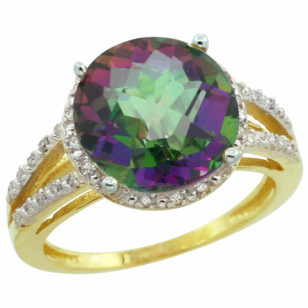 10K Yellow Gold Natural Diamond Mystic Topaz Ring Round 11mm, sizes 5-10