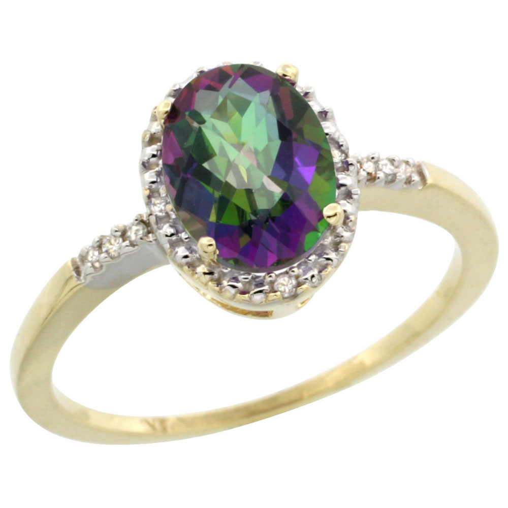 14K Yellow Gold Natural Diamond Mystic Topaz Ring Oval 8x6mm, sizes 5-10